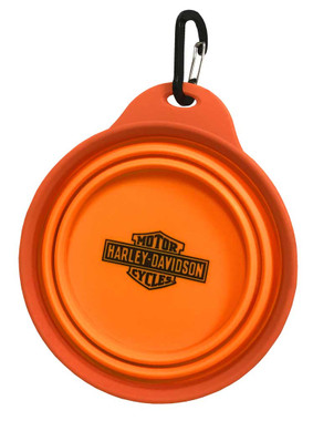 Harley-Davidson Bar & Shield Collapsible Pet Travel Water & Food Bowl - Orange - Wisconsin Harley-Davidson