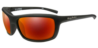 Harley-Davidson Men's Pipes Sunglasses, Red Mirror Lenses/Black Frames HAPIP13 - Wisconsin Harley-Davidson