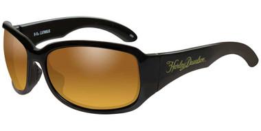 Harley-Davidson Women's Catwalk Sunglasses, Gold Lenses & Black Frames HACTW15 - Wisconsin Harley-Davidson