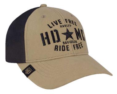 Harley-Davidson Men's Military Star Colorblocked Baseball Cap, Khaki BCC34312 - Wisconsin Harley-Davidson