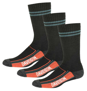 Harley-Davidson Mens Vented Wool Performance Riding Socks, 3 Pairs D99236270-001 - Wisconsin Harley-Davidson