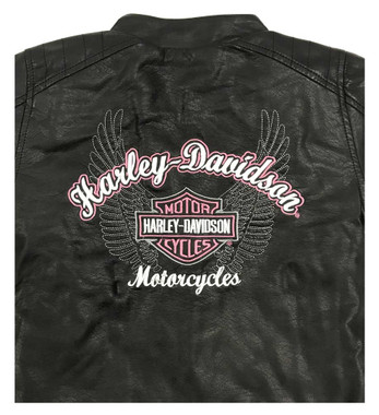 Harley-Davidson Little Girls' Winged Bar & Shield Pleather Biker Jacket 6030771 - Wisconsin Harley-Davidson