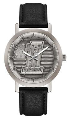 Harley-Davidson Men's #1 Skull Stars & Stripes Watch w/ Leather Strap 76A163 - Wisconsin Harley-Davidson
