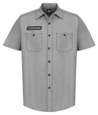 Harley-Davidson Men's Screamin' Eagle Contrast Stitch Woven Shop Short - Gray - Wisconsin Harley-Davidson