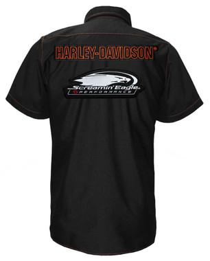 Harley-Davidson Men's Screamin' Eagle Contrast Stitch Woven Shop Short - Black - Wisconsin Harley-Davidson