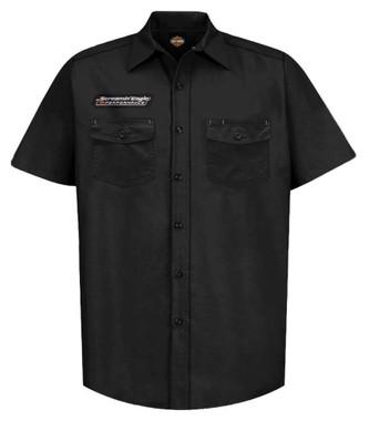 Harley-Davidson Men's Screamin' Eagle Vintage Fashion Short Sleeve Shirt, Black - Wisconsin Harley-Davidson