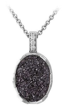 Harley-Davidson Women's Oval Granite Drusy Necklace, Sterling Silver HDN0449-16 - Wisconsin Harley-Davidson