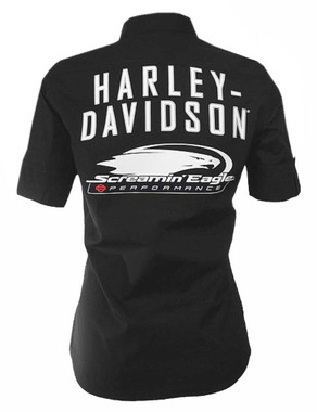 Harley-Davidson Women's Screamin' Eagle Mid-Sleeve Vintage Fashion Shirt ST77BKO - Wisconsin Harley-Davidson