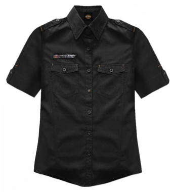 Harley-Davidson Women's Screamin' Eagle Mid-Sleeve Vintage Fashion Shirt ST77BKO - Wisconsin Harley-Davidson