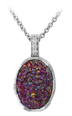 Harley-Davidson Women's Oval Purple Drusy Necklace, Sterling Silver HDN0448-16 - Wisconsin Harley-Davidson