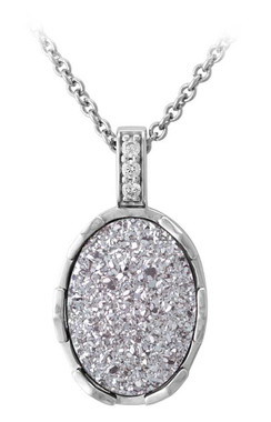 Harley-Davidson Women's Oval Silver Drusy Necklace, Sterling Silver HDN0447-16 - Wisconsin Harley-Davidson