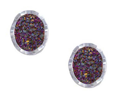 Harley-Davidson Women's Oval Drusy Bling Post Earrings - Purple Center HDE0527 - Wisconsin Harley-Davidson