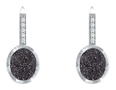 Harley-Davidson Women's Oval Drusy Bling Drop Earrings - Granite Center HDE0524 - Wisconsin Harley-Davidson
