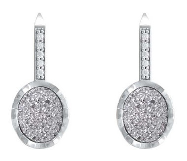 Harley-Davidson Women's Oval Drusy Bling Drop Earrings - Silver Center HDE0522 - Wisconsin Harley-Davidson