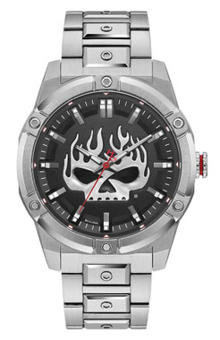 Harley-Davidson Mens Flaming Willie G Skull Stainless Steel Watch, Silver 76A164 - Wisconsin Harley-Davidson
