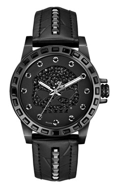 Harley-Davidson Women's Willie G Skull Crystal Watch, Studs Leather Strap 78L126 - Wisconsin Harley-Davidson