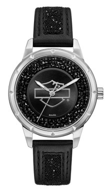 Harley-Davidson Women's Open B&S Crystal Embellished Watch, Leather Strap 76L192 - Wisconsin Harley-Davidson
