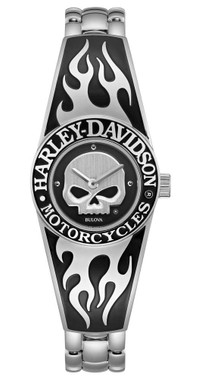 Harley-Davidson Womens Flames Willie G Skull Stainless Steel Bangle Watch 76L190 - Wisconsin Harley-Davidson