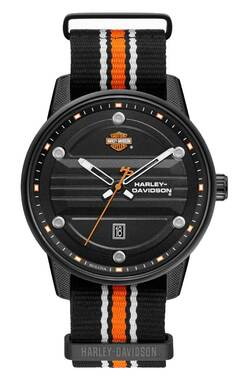 Harley-Davidson Men's Black Dial B&S Logo Watch w/ Striped Strap 78B153 - Wisconsin Harley-Davidson