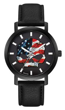 Harley-Davidson Men's American Flag Willie G Skull Watch w/ Leather Strap 78A122 - Wisconsin Harley-Davidson