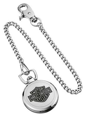 Harley-Davidson Men's Bar & Shield Stainless Steel Pocket Watch w/ Chain 76A165 - Wisconsin Harley-Davidson