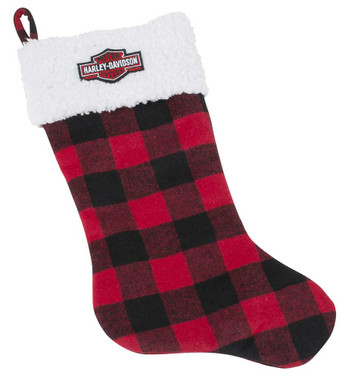 Harley-Davidson Winter Holiday Stocking - Red Plaid w/ Satin Lining HDX-99151 - Wisconsin Harley-Davidson
