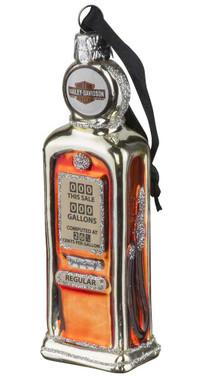 Harley-Davidson Blown Glass B&S Gas Pump Ornament, Glitter Accents HDX-99168 - Wisconsin Harley-Davidson