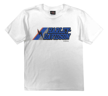 Harley-Davidson Little Boys' Bolt Short Sleeve Crew-Neck T-Shirt, White 1580051 - Wisconsin Harley-Davidson