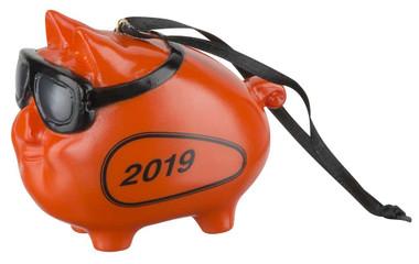 Harley-Davidson 2019 Hog w/ Goggles Hanging Ornament - Orange Finish HDX-99161 - Wisconsin Harley-Davidson