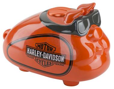 Harley-Davidson Ceramic Hog Bank W/ Goggles - Custom Orange Finish HDX-99147 - Wisconsin Harley-Davidson