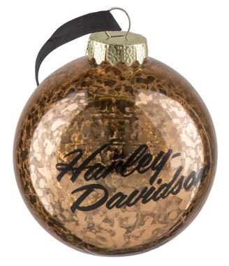 "Harley-Davidson Copper Ball Glass Ornament, Distressed Finish - 3"" HDX-99158 - Wisconsin Harley-Davidson"
