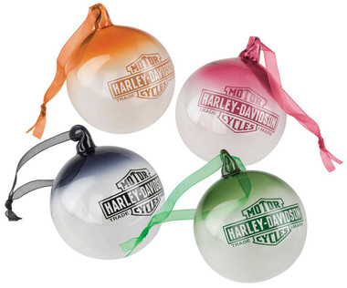 Harley-Davidson Multi-Colored Ball Ornament Set - Glass Hand Blown HDX-99157 - Wisconsin Harley-Davidson
