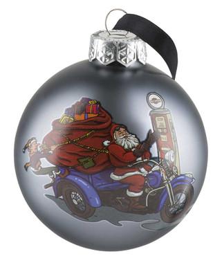 Harley-Davidson Winter 2019 Biker Santa Ball Glass Ornament, Gray HDX-99156 - Wisconsin Harley-Davidson