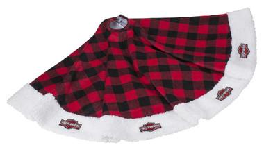 Harley-Davidson Winter Tree Skirt - Red Buffalo Plaid w/ Satin Lining HDX-99154 - Wisconsin Harley-Davidson