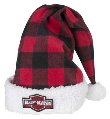 Harley-Davidson Winter Holiday Santa Hat - Red Plaid w/ Satin Lining HDX-99153 - Wisconsin Harley-Davidson