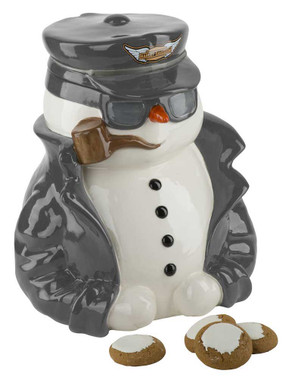 Harley-Davidson Custom Sculpted Biker Snowman Cookie Jar, Black/White HDX-99144 - Wisconsin Harley-Davidson