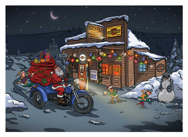 Harley-Davidson Winter Biker Santa Boxed Holiday Cards - Set of 12 HDX-90016 - Wisconsin Harley-Davidson