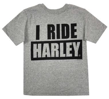 Harley-Davidson Little Boys' I Ride Harley Short Sleeve T-Shirt, Gray 1580055 - Wisconsin Harley-Davidson