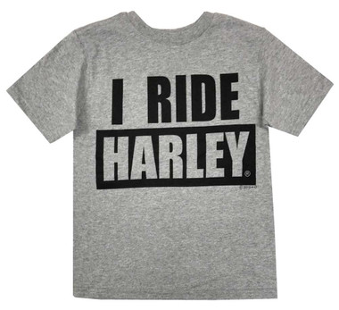 Harley-Davidson Little Boys' I Ride Harley Short Sleeve T-Shirt, Gray 1570055 - Wisconsin Harley-Davidson