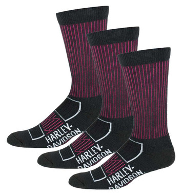 Harley-Davidson Womens Compression Moisture Wicking Riding Socks, 3 Pairs, Pink - Wisconsin Harley-Davidson