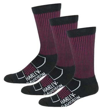 Harley-Davidson Womens Compression Moisture Wicking Riding Socks, 3 Pairs, Pink - Wisconsin Harley-Davidson