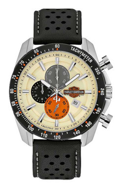 Harley-Davidson Men's Vintage B&S Chronograph Watch w/ Leather Strap 78B154 - Wisconsin Harley-Davidson