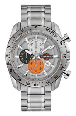 Harley-Davidson Men's Vintage B&S Chronograph Stainless Steel Watch 76B186 - Wisconsin Harley-Davidson