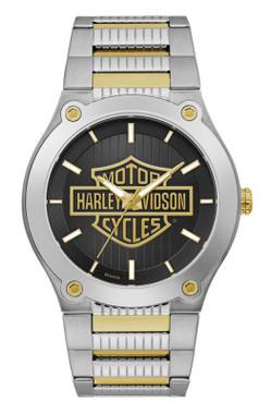 Harley-Davidson Men's Gold Bar & Shield Stainless Steel Watch, Silver 78A126 - Wisconsin Harley-Davidson