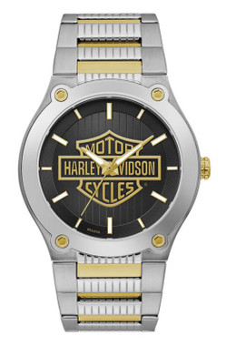 Harley-Davidson Men's Gold Bar & Shield Stainless Steel Watch, Silver 78A126 - Wisconsin Harley-Davidson