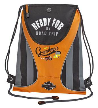 Harley-Davidson Kids' Sling Drawstring Backpack - Rust/Black or Black 99841 - Wisconsin Harley-Davidson