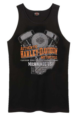 Harley-Davidson Men's Speedway V-Twin Engine Sleeveless Tank Top - Black - Wisconsin Harley-Davidson