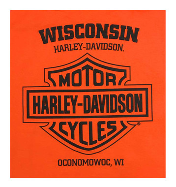 Harley-Davidson Men's Distressed Background Sleeveless Muscle Shirt - Orange - Wisconsin Harley-Davidson