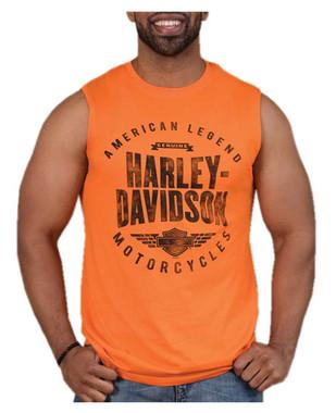 Harley-Davidson Men's Distressed Background Sleeveless Muscle Shirt - Orange - Wisconsin Harley-Davidson
