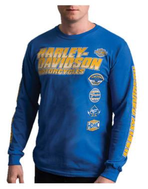 Harley-Davidson Men's Nitro Racing Long Sleeve Crew-Neck Cotton Shirt - Royal - Wisconsin Harley-Davidson